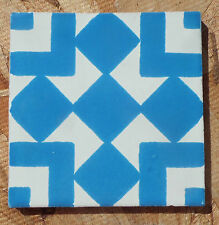 """10~Talavera Mexican 4"""" tile pottery Hand painted turquoise white geometric Vtg"""