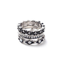 Brand New Isabel 3pcs Set Heirloom Crystal Stackable Rings Fine Jewelry Silver