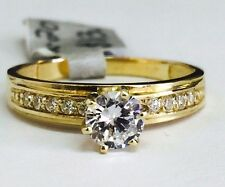 Solid 14K Yellow Gold Solitaire Engagement Ring with Cubic Zirconia stones,sz 7