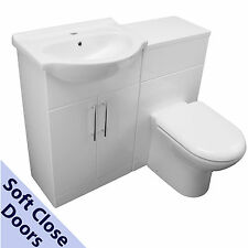 1250 BACK TO WALL VANITY CABINET CERAMIC BASIN SINK 650 TOILET UNIT & PAN WHITE