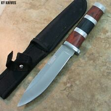 """10"""" STAINLESS STEEL WOOD HANDLE HUNTING KNIFE Survival Skinning Bowie 8154 zix"""