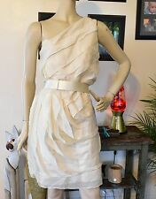 Halston Heritage One Shoulder Tiered Silk Chiffon Belted Cocktail Party Dress 4