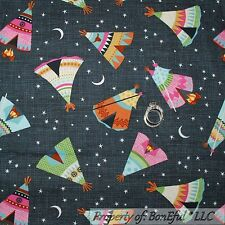 BonEful Fabric FQ Cotton Quilt Tent Teepee American Indian Camp Route 66 Star Sm
