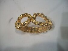 R J GRAZIANO Bracelet BIG BOLD CHUNKY Goldtone HINGED BANGLE EUC