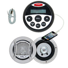 Bluetooth NEW Marine Waterproof Audio Kit MP3/USB/FM/Ipod Latest + Speakers + An