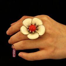 Bague Grosse Fleur Email Cremeux Rouge Original Soirée Mariage Cadeau Z2