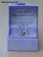 Purple Treasure Chest Glass Bear With Flowers Gift For A Special Friend