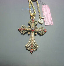 689  Betsey Johnson Vintage Style Crystal Antique Bronze Cross Pendant Necklace