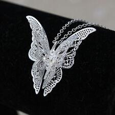 Femme Collier Sautoir Pendentif Papillon Strass Cristal Fantaisie Sans Chaine NF