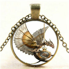 Vintage Steampunk Dragon Photo Cabochon Glass Bronze Pendant Necklace Jewelry