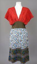 Day Birger et Mikkelsen cotton silk red,olive green multi-coloured dress size 38