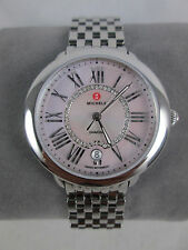 NIB Michele Serein 16 Pink MOP Diamond Silver Watch Stainless Band MW21B00A0062