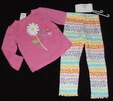 NWT Gymboree Butterfly Blossoms pink daisy top 2T, purple flower leggings 3T set