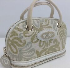 SPARTINA 449 COSMETIC BAG Natural linen genuine leather RETIRED MSRP $40 Nwot
