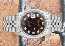 Gents Wood Diamond Dial Steel & 18ct White Gold Rolex Oyster Perpetual Datejust.
