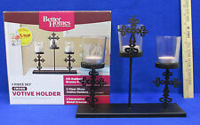 Candle Holder 3 Clear Glass Votive Table Centerpiece Metal Cross Stand 4PC Set