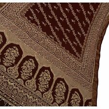 Vintage Indian Saree 100% Pure Cotton Hand Beaded Woven Fabric Pearl Ethnic Sari