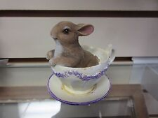 New Beautiful Resin brown Rabbit Bunny in teacup figurine #1 Easter