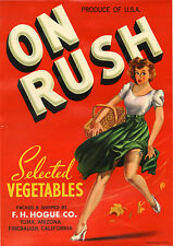 *Original* ON RUSH Pin-up Silk Stockings Garter Vegetable Crate Label NOT A COPY