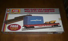 INDY RACE CAR WITH HALF BOX CAR HO SCALE AHM TRAIN ACCESSORY - VINTAGE