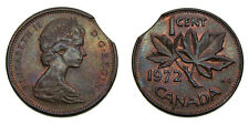 1972 Canada One Cent Error Double Clipped Planchet EF+