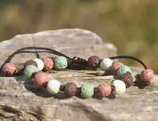 Lava Stone Bracelet Natural Lave Beads Adjustable Women's Braclet  CH-10