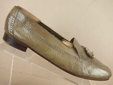 Stanley Blacker Brown Olive Leather Croc Brogue Moc Toe Tassel Loafer Men 10.5 M