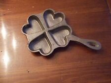 """VINTAGE CAST IRON SMALL 4  Heart Shaped Skillet Mold or Wall Trivet - 8"""""""