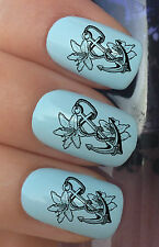 NAIL ART SET #344 x24 LILLY FLOWERS & SHIP ANCHOR WATER TRANSFER DECALS STICKERS