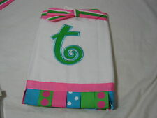 """New  MUDPIE INITIAL """"T """"  Burp Cloth -  Pink, Green and Blue NIP"""