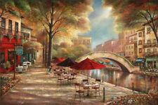 Riverwalk Café Art Poster Print by Ruane Manning, 36x24