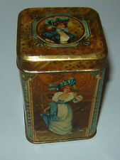 Unique ANTIQUE Old Vintage Tin Litho Box for tea or coffee Victorian Ladies Boys
