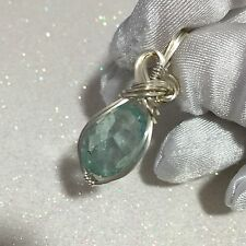 Genuine Aquamarine Pendant Blue Green Sterling Silver Arg. w/necklace 13k  s2-8