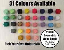 10 x Coloured Geometric Wood Beads 20mm Your Choice Wooden Bead Colour Choose