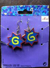 """Vintage Sevi Handpainted Letter """"G"""" Hook Pierced Earrings from 1993"""