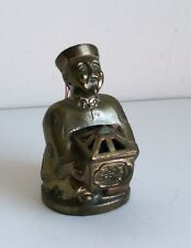 Chinese Man Figurine Incense/ Ashtray/ Inkwell Metal from Japan Vintage