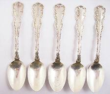 '5' ANTIQUE STERLING SILVER TEASPOONS, LOUIS XV, WHITING MFG. CO.