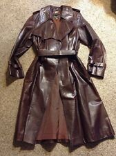 Beged-or VINTAGE RARE Trench Coat Long Brown Belt Retro Mod Double Breasted S/M