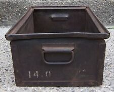 "Vintage Heavy Duty Metal Steel Box / Chest with Handles - 18.5"" x 12.5"" x 8"""