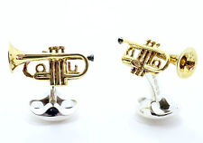 Deakin and Francis Silver Enamel & Gold Plated Trumpet Cufflinks