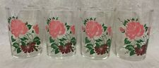 4 Vintage Juice Tumblers Pink & Maroon Rose w/Green leaves 3 & 3/4 inches tall