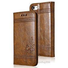 Genuine Real PU Leather Wallet Card Holder Flip Case Cover For iPhone / Samsung