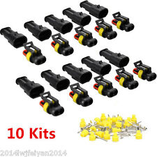 10 Kits 2 Pin Way Sealed Waterproof Terminal Set Electrical Wire Connector Plug