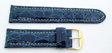 New Genuine Crocodile watch band Blue color 22 mm w/White stitches Made in Italy