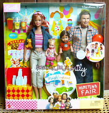 Happy Family Neighborhood Hometown Fair Gift Set Barbie Ken Doll Midge Alan
