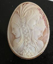 Signed Victorian 14K Yellow Gold Shell Cameo Brooch Pendant 3 Muses graces