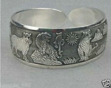 New Tibetan Tibet Silver Tiger Totem Bangle Cuff Bracelet