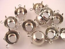 12 silver  Round Prong Settings 48SS 11mm 2 Ring charm closed  back connectors