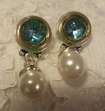 Avon - Peirced Earrings - Goldtone/Faux Pearl with Blue Stone