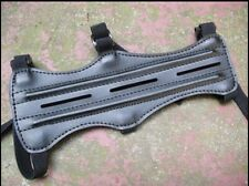 New Black 3 Strap Leather Look Shooting Archery Arm Guard Protection Safe Guard